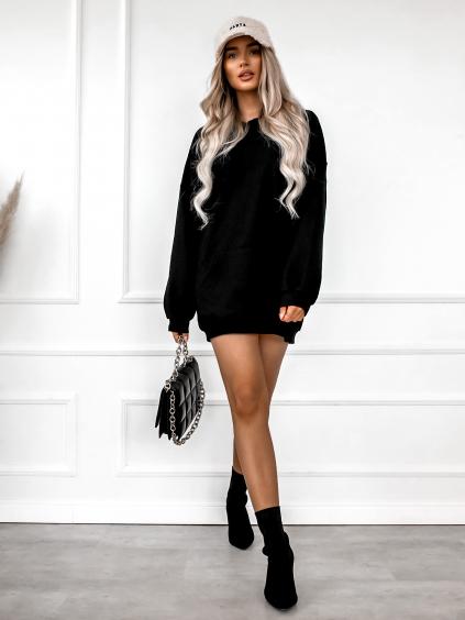 Černá bavlněná mikina/šaty ASTI s kapucí a potiskem na zádech