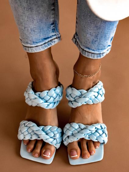 Modré zapletené boty na podpatku CASSIE