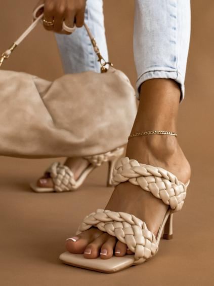 Béžové zapletené boty na podpatku CASSIE