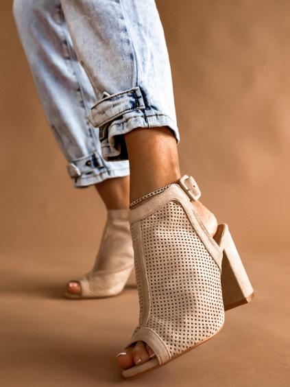 Béžové boty na podpatku SKYLAR