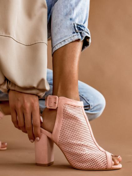 Růžové boty na podpatku SKYLAR