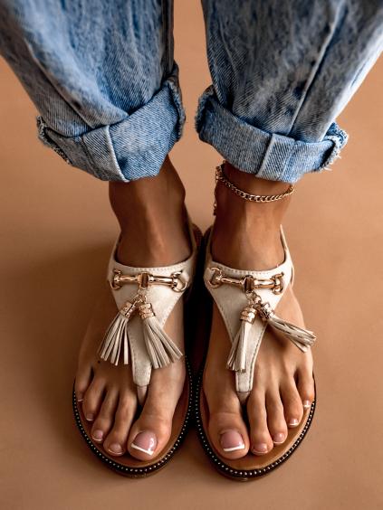 Béžové sandálky se střapci SAID