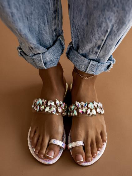 Modré pantofle s kamínky DIAMOND