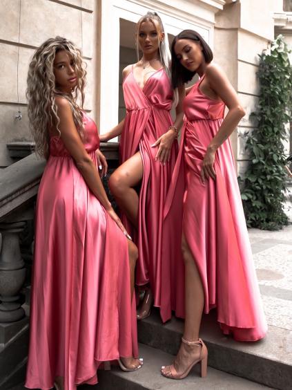 Malinové dlouhé lesklé šaty PERFECTLY