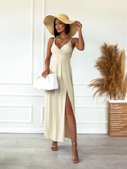 Béžové dlouhé šaty SHANE s rozparkem