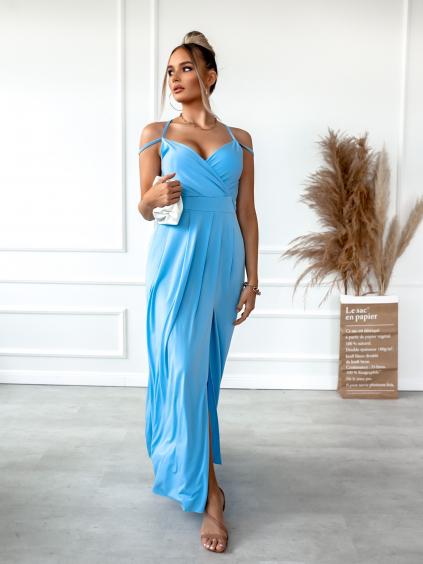Světle modré dlouhé šaty SHANE s rozparkem