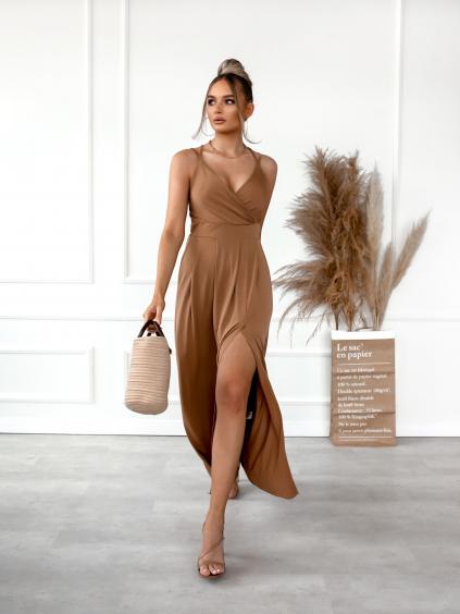 Hnědé dlouhé šaty SHANE s rozparkem