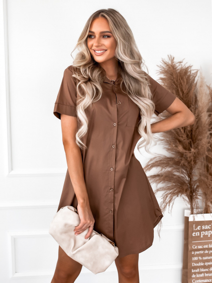 Hnědé košilové šaty ARTLESS s krátkým rukávem