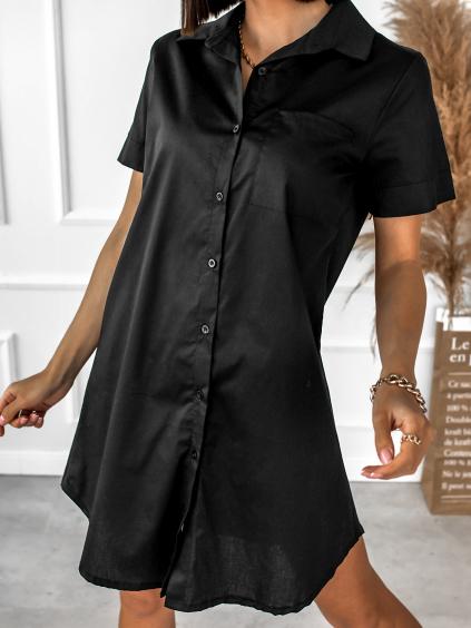 Černé košilové šaty ARTLESS s krátkým rukávem
