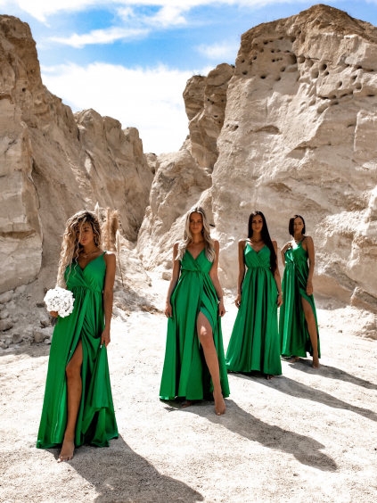Zelené dlouhé lesklé šaty PERFECTLY