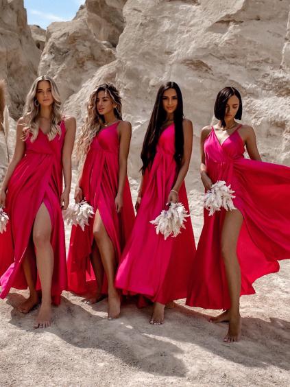 Tmavě růžové dlouhé lesklé šaty PERFECTLY