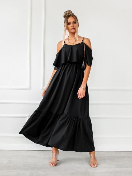 Černé dlouhé šaty HEAVEN na ramínka