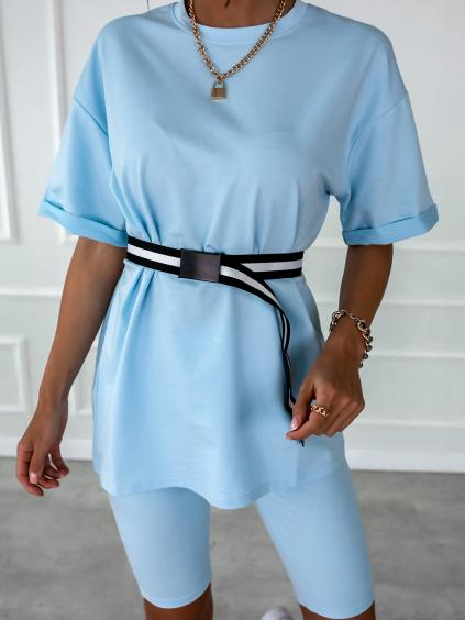 Modrý krátký komplet PASTEL s páskem