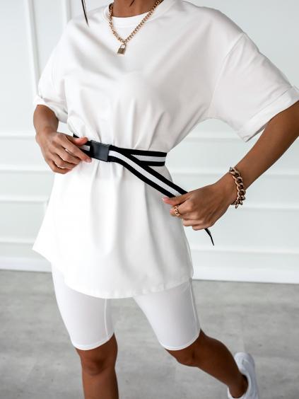 Bílý krátký komplet PASTEL s páskem
