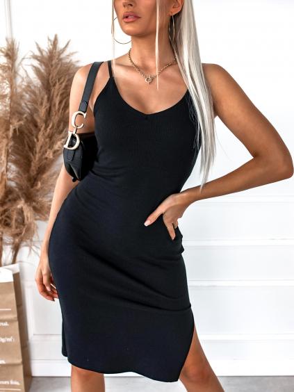 Černé jednoduché šaty ENTITY s rozparkem