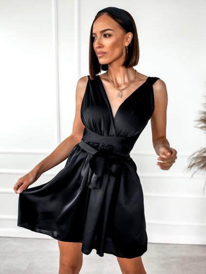 Černé lesklé šaty FANTASY s vázáním