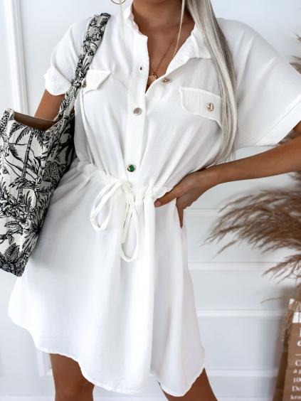 Bílé šaty KATHRYN se zlatými knoflíky