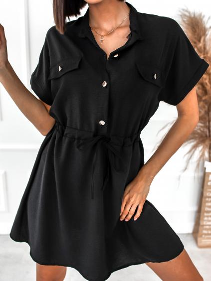 Černé šaty KATHRYN se zlatými knoflíky