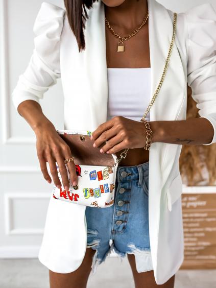 Bílé sako STAY s nabíranými rukávy a kapsičkou