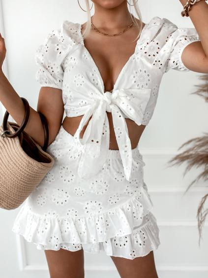 Bílý bavlněný komplet BIANCA se vzorem