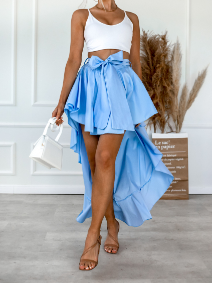 Modrá asymetrická sukně SICILY s volánky