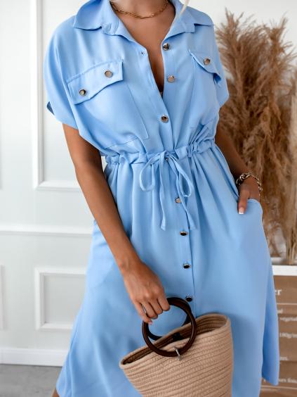 Světle modré šaty SOPHIA se zlatými knoflíky