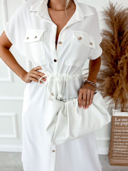 Bílé šaty SOPHIA se zlatými knoflíky