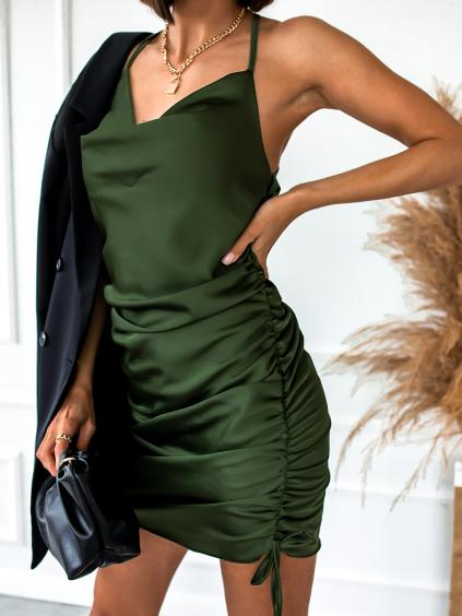Khaki lesklé šaty SHOW s tenkými ramínky