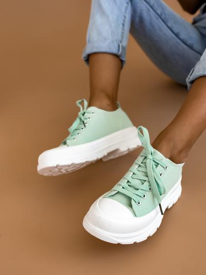 Světle zelené plátěné tenisky CURIOUS