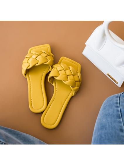 Žluté zapletené pantofle TALLY