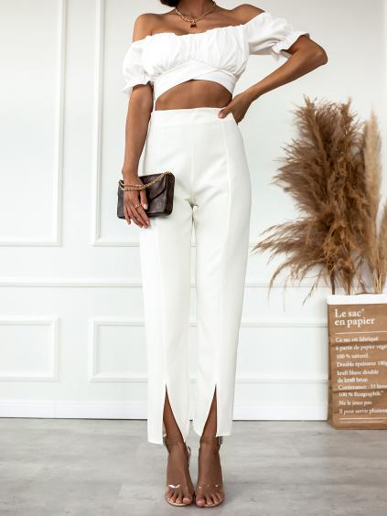 Bílé elegantní kalhoty TOLEDO s rozparkem