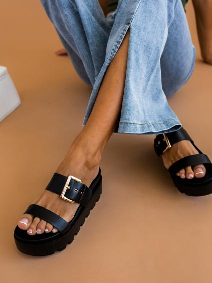 Černé páskové pantofle TEMPER