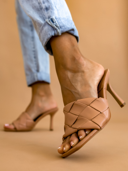 Béžové boty na podpatku LUCKY