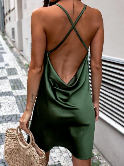 Khaki lesklé šaty CLAIRE