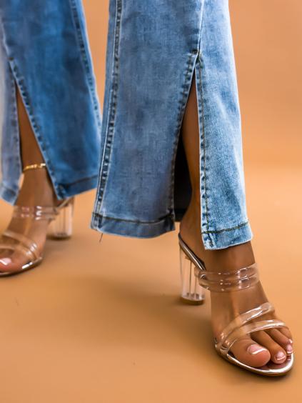 Stříbrné boty na podpatku LILIEN s transparentníma páskama