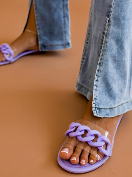 Světle fialové pantofle SUNRISE s transparentním páskem