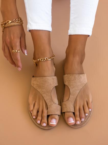 Světle hnědé semišové pantofle DAWN