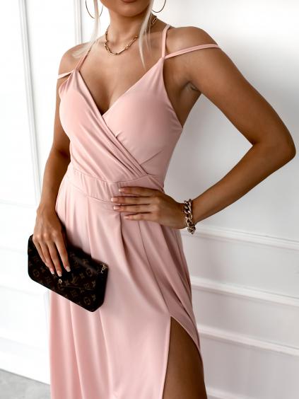 Světle růžové dlouhé šaty SHANE s rozparkem