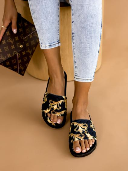 Černozlaté nízké pantofle STUCK