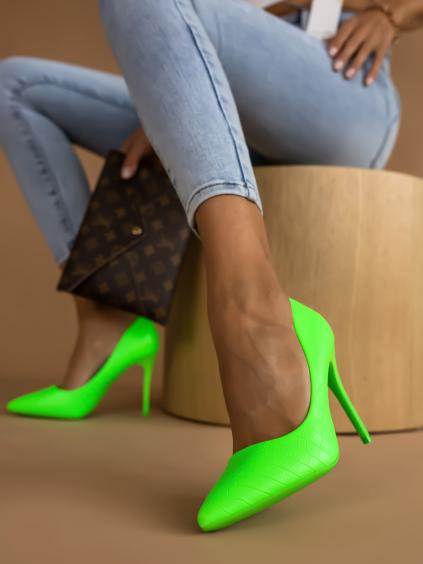 Neonově zelené vzorované boty na podpatku LINDSEY