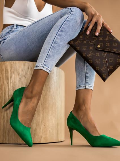 Tmavě zelené boty na podpatku SHELLY
