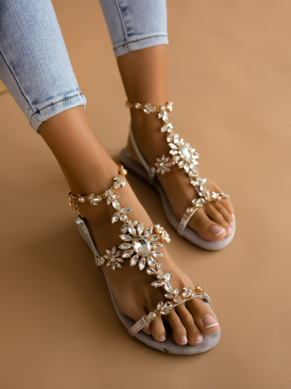 Stříbrné sandálky AISHA s výrazným zdobením