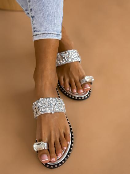 Stříbrné pantofle CLAYTON s kamínky