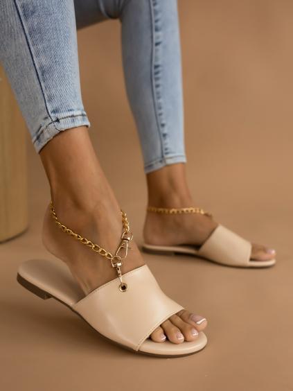 Béžové pantofle RASH se zlatým řetízkem