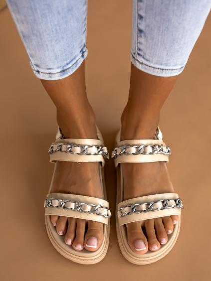 Béžové sandálky ALIVE s řetízky