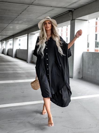 Černé košilové oversize šaty OVER s kapsami