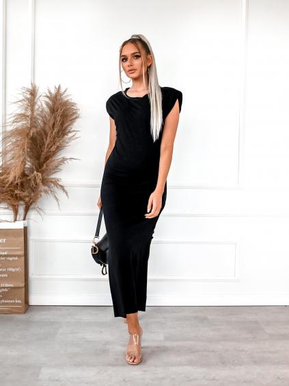 Černé šaty MUCH s vyztuženými rameny