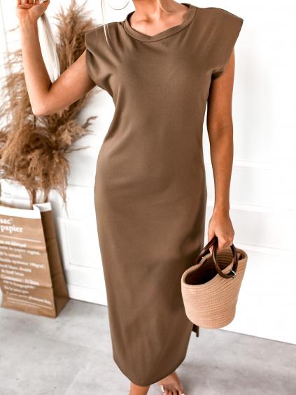 Hnědé šaty MUCH s vyztuženými rameny