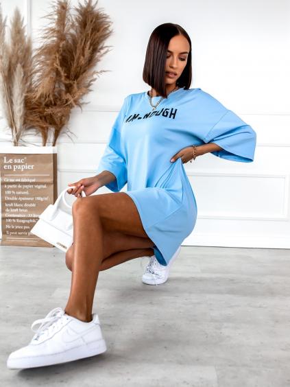 Modré oversize triko/šaty ENOUGH s nápisem