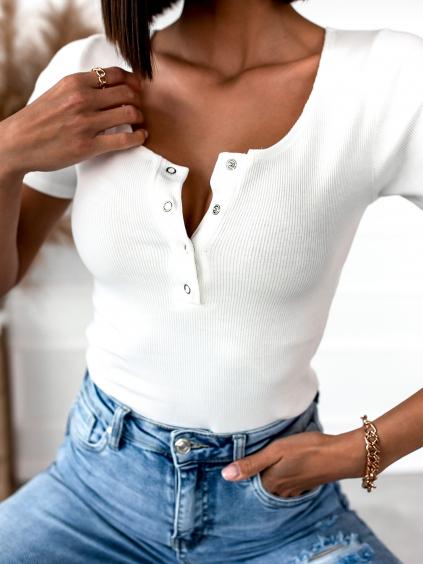 Bílé žebrované triko RUBY s krátkým rukávem